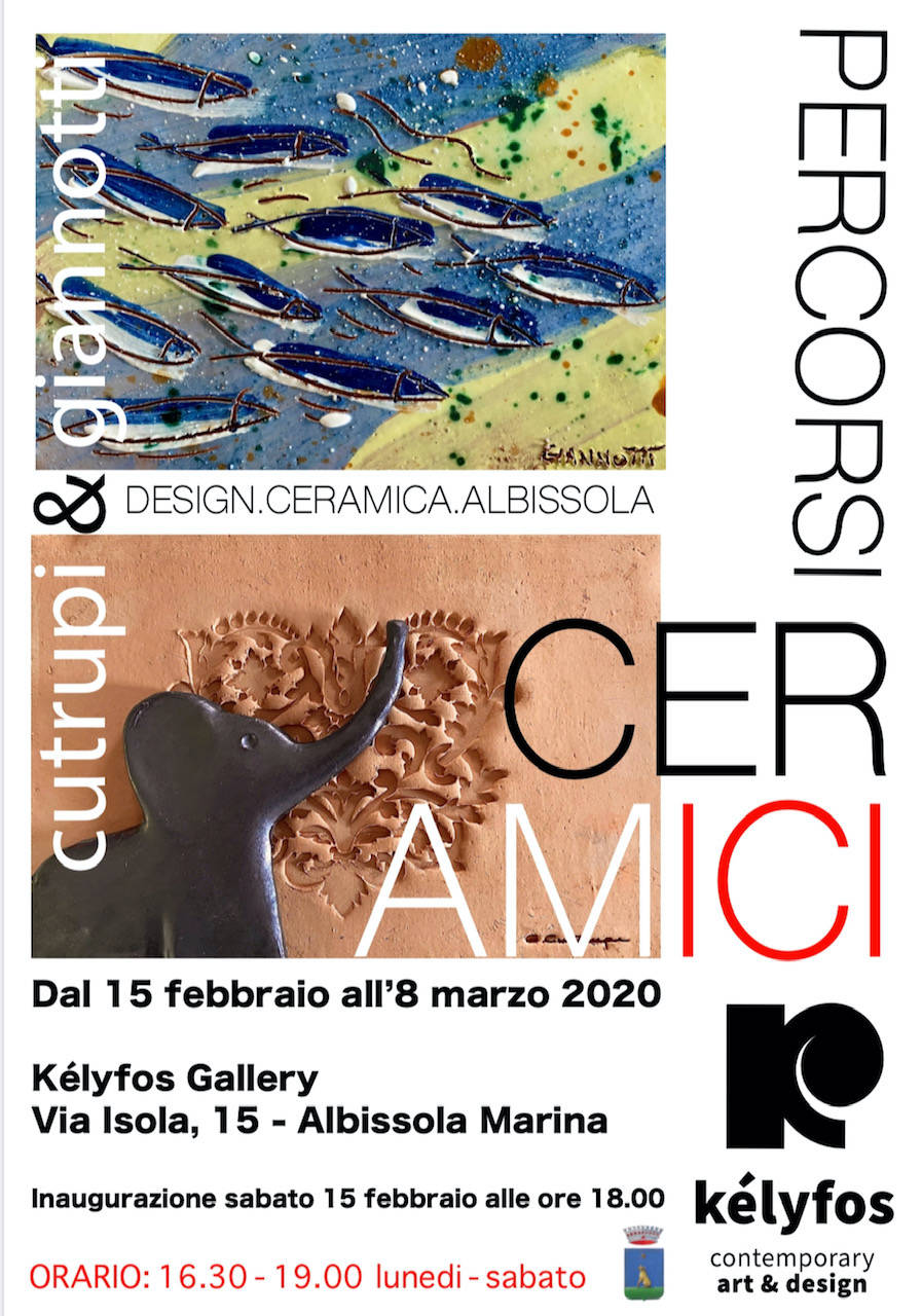 """Percorsi cerAMICI"" mostra Gianluca Cutrupi e Roby Giannotti Albissola Marina Galleria Kélyfos"