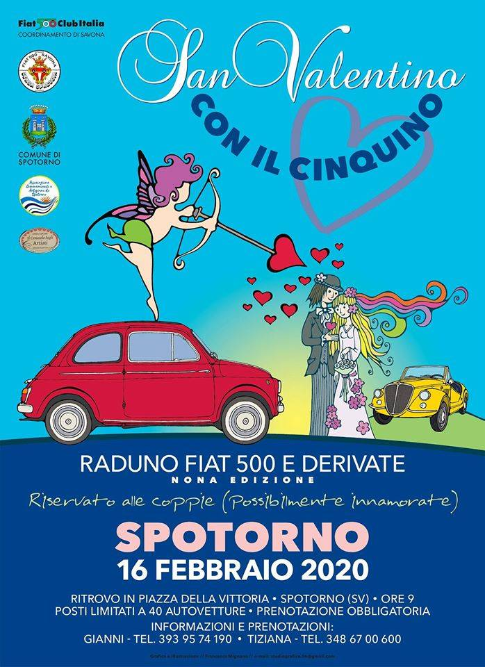 """""""San Valentino con il Cinquino"""" raduno FIAT 500 Spotorno"""
