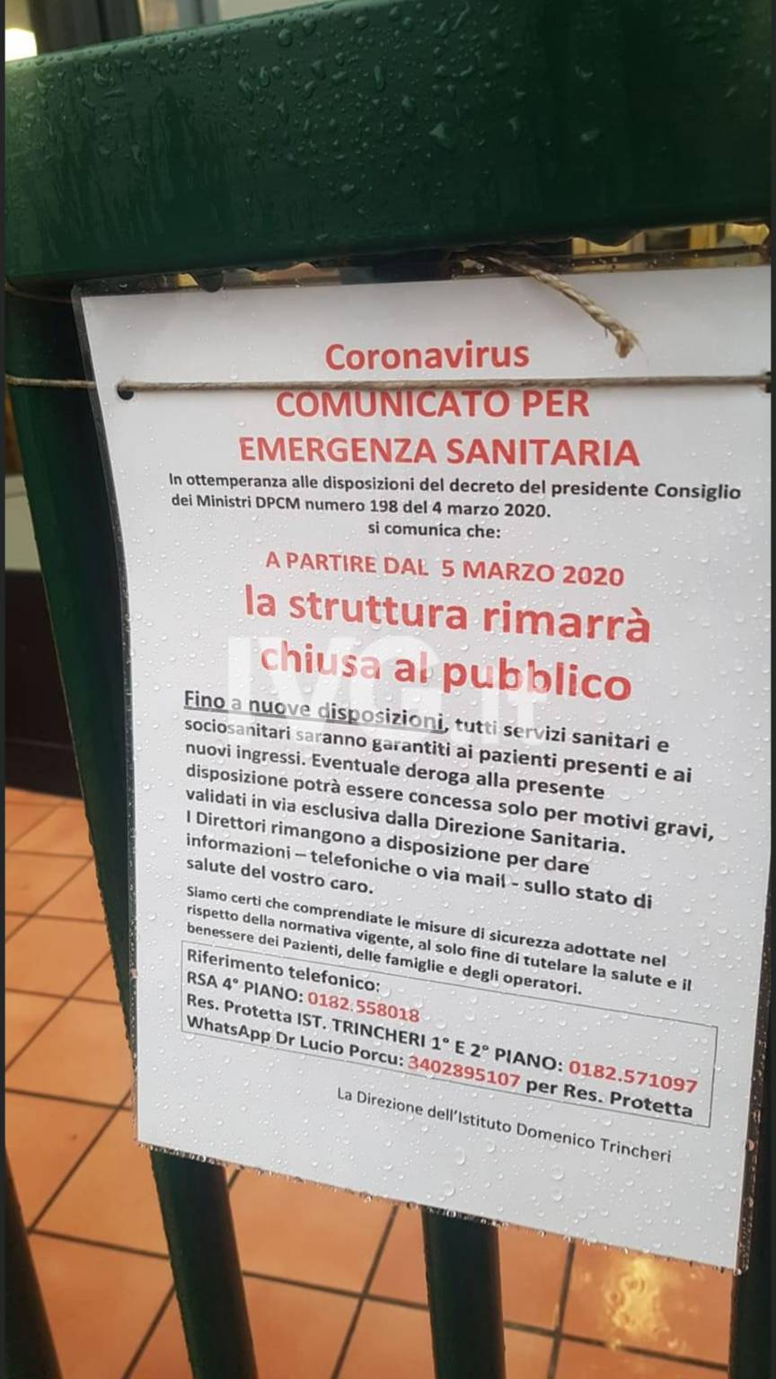 Cartello Trincheri Coronavirus