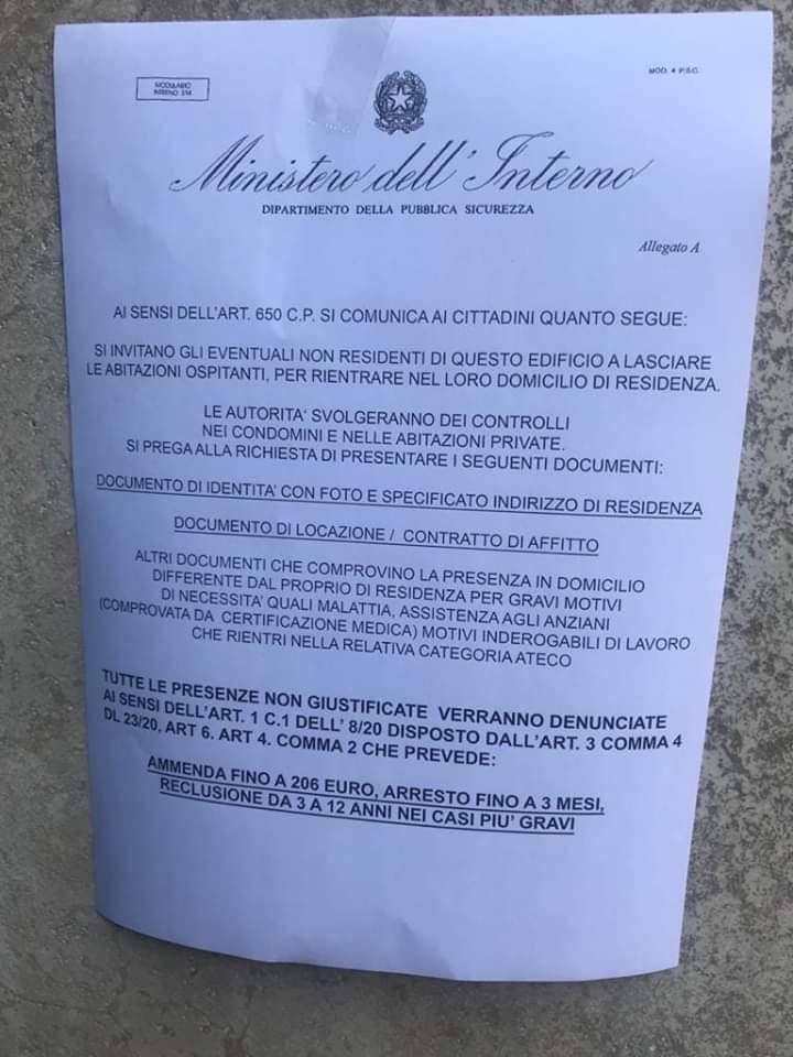 Manifesto falso ministero Coronavirus