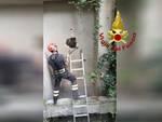vigili del fuoco intervento ascensore muro rotto