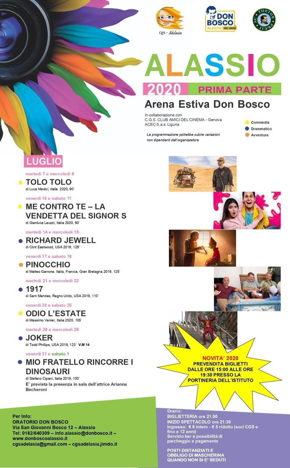 """Alassio rassegna cinematografica """"Arena Estiva Don Bosco"""" 2020"""
