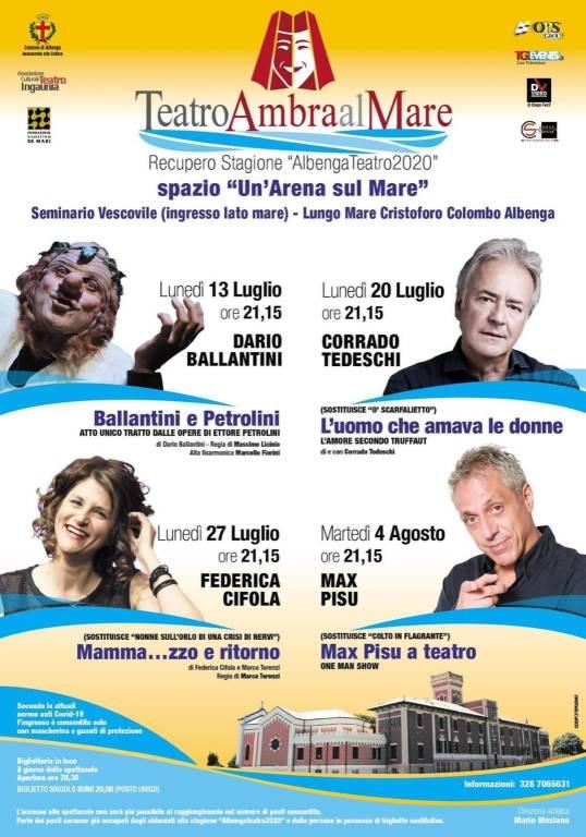 """Albenga """"Teatro Ambra al Mare"""" rassegna estate 2020"""