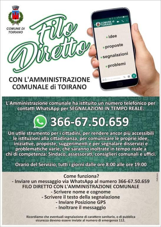 Toirano servizio Whatsapp segnalazioni Comune