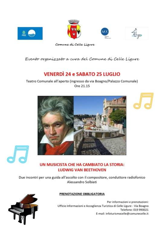 """Celle Ligure """"Un musicista che ha cambiato la storia"""" Alessandro Solbiati e Ludwig van Beethoven"""