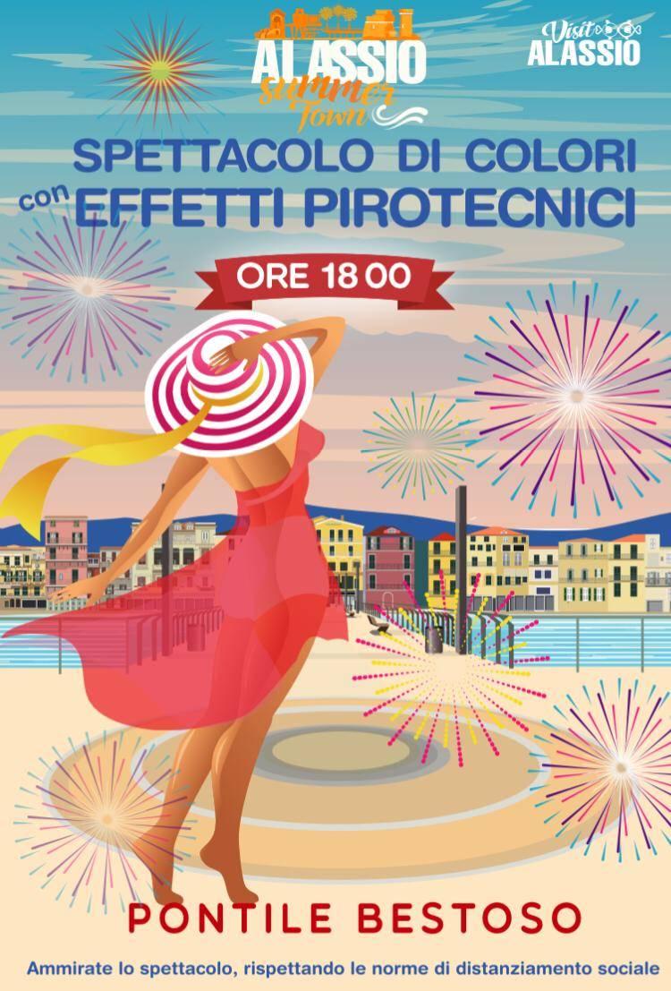 Alassio fuochi d'artificio colorati Ferragosto 2020