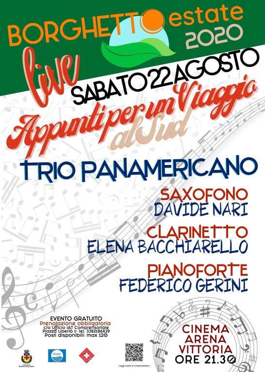 """Borghetto Santo Spirito """"Appunti per un Viaggio a Sud"""" concerto Trio Panamericano"""