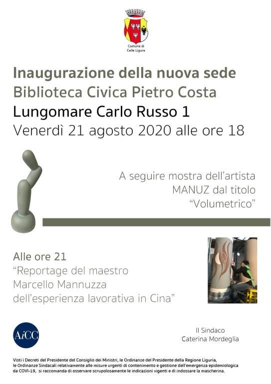 """Celle Ligure inaugurazione nuova sede Biblioteca Civica """"Pietro Costa"""""""