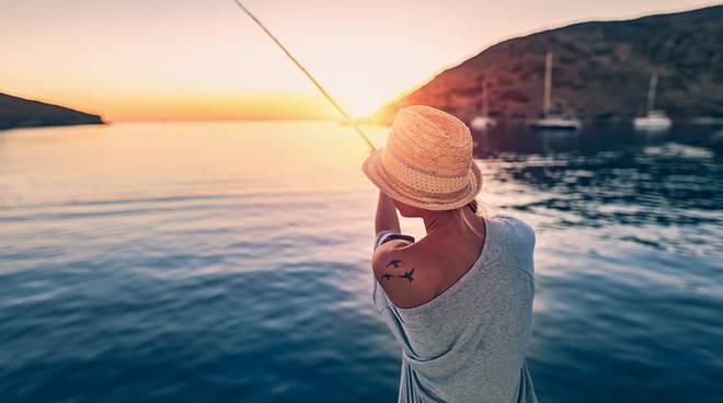 estate, relax, mare, tramonto