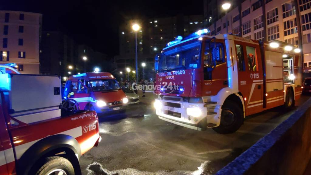 Incendio in via Sertoli a Molassana