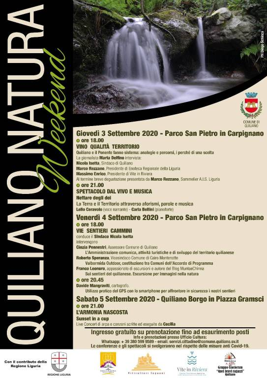 Quiliano Natura Weekend settembre 2020