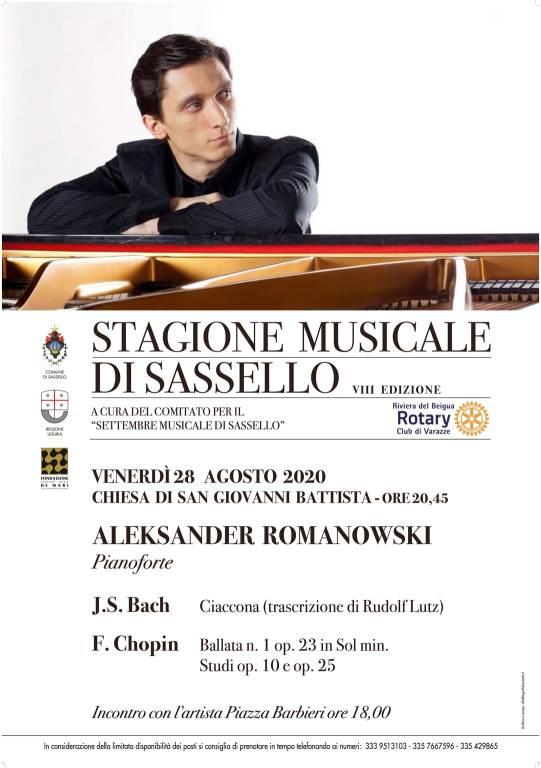 Sassello concerto pianista Alexander Romanovsky