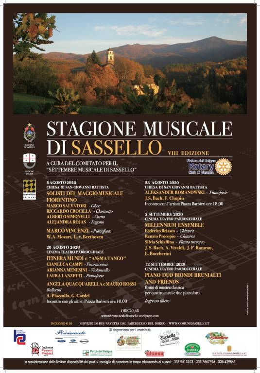 Sassello stagione musicale estate 2020