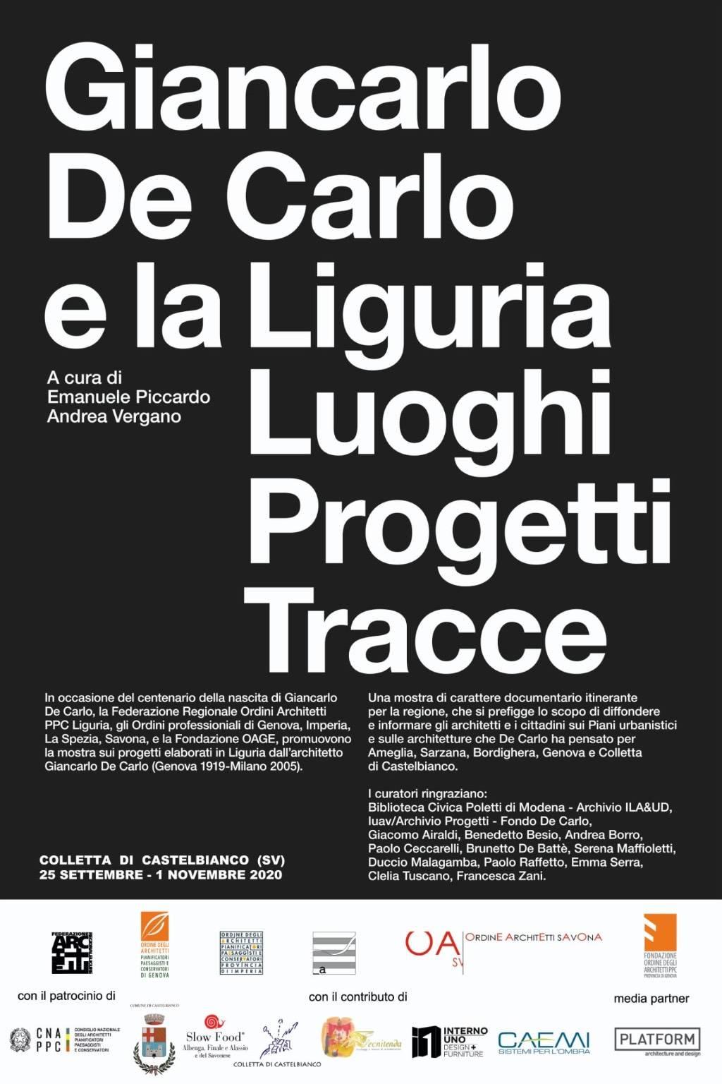"""Castelbianco """"Giancarlo De Carlo e la Liguria"""" mostra urbanista e architetto genovese"""
