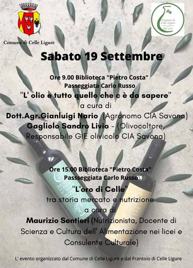 Celle Ligure conferenze olio ligure settembre 2020
