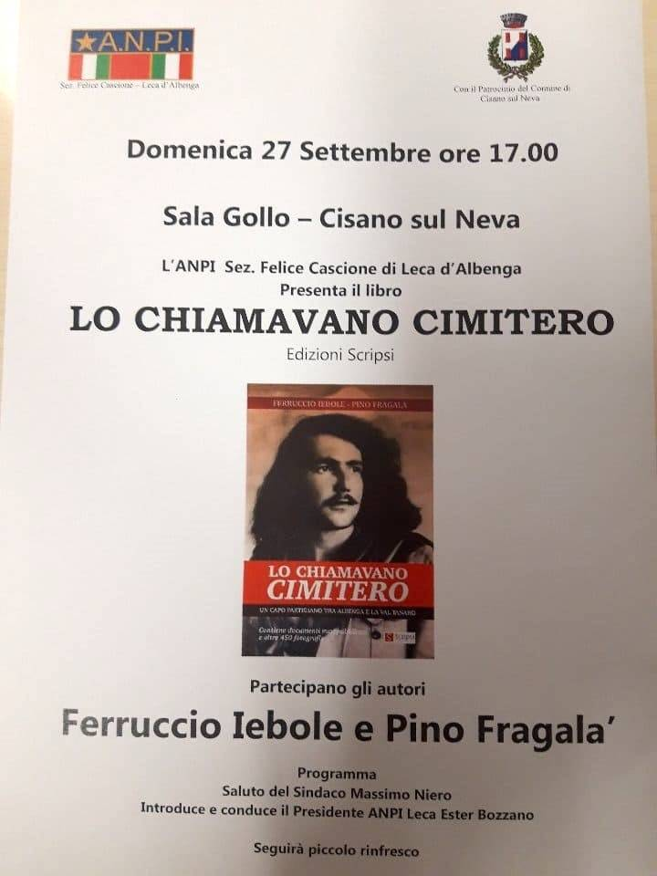 """Cisano sul Neva """"Lo chiamavano Cimitero"""" libro Ferruccio Iebole e Pino Fragalà"""