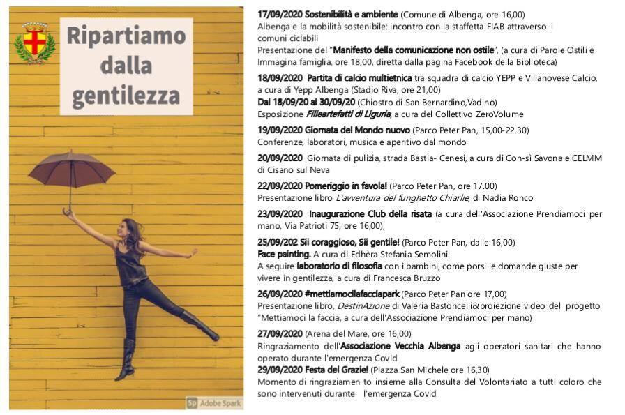 Settimana Gentilezza 2020 Albenga