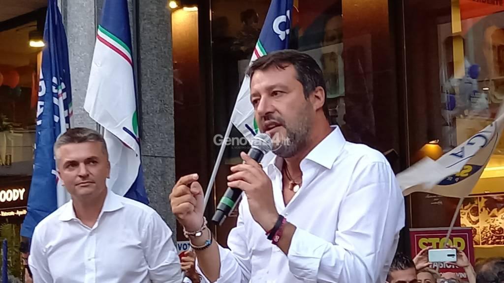 Salvini chiude la campagna elettorale di Toti a Genova