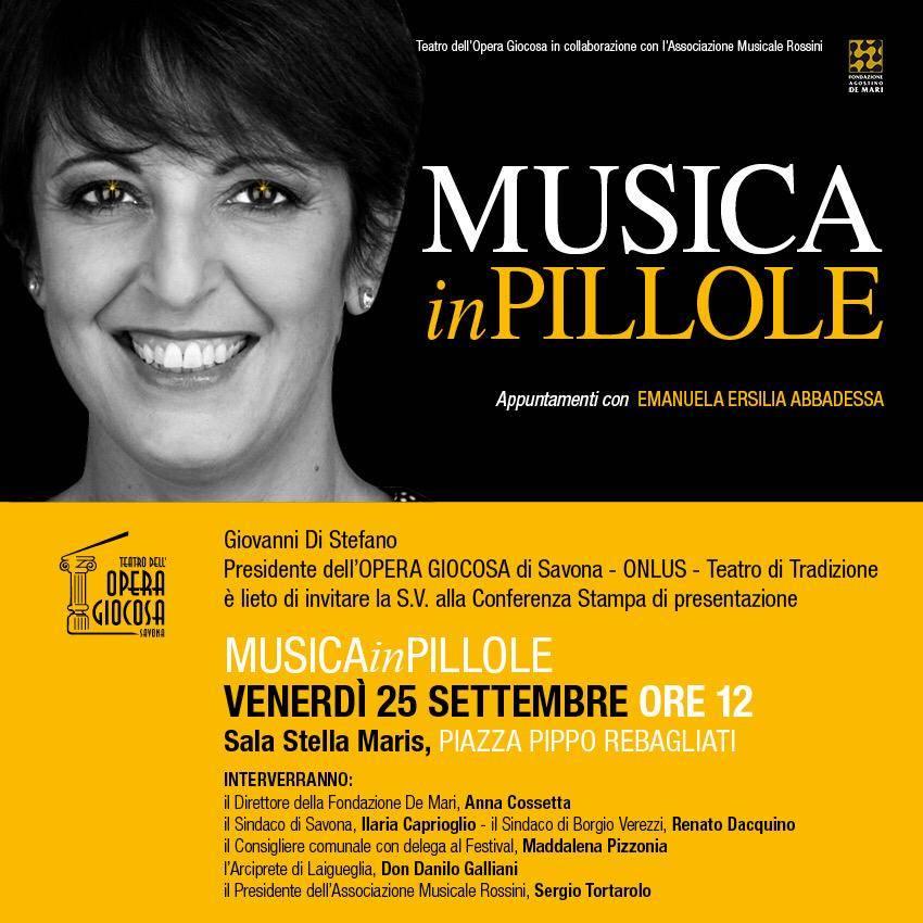 """Savona """"Musica in pillole"""" Opera Giocosa presentazione progetto"""