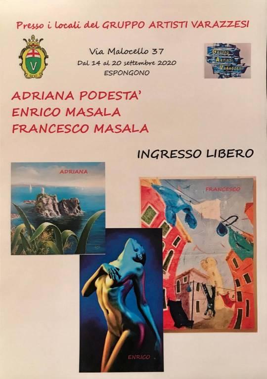 Varazze mostra pittura Adriana Podestà, Enrico e Francesco Masala