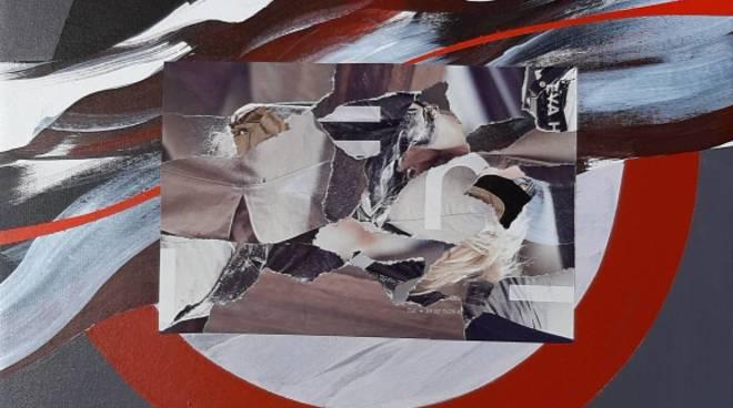 """Carlo Giusto """"Composizione in grigio"""" olio e collage su tela"""