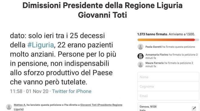 petizione change raccolta firme dimissioni Toti