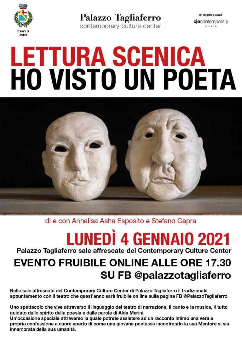 """Andora """"Ho visto un poeta"""" lettura scenica poesie Alda Merini Palazzo Tagliaferro"""