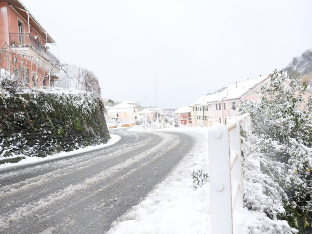 Neve tra Celle e Albisola [FOTO ANGELO MAGGIONI]