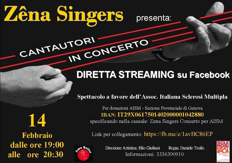 """Genova """"Cantautori in concerto"""" spettacolo Zêna Singers per AISM"""