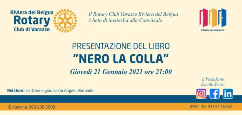 "Varazze ""Nero La Colla"" presentazione libro noir Angelo Verrando"