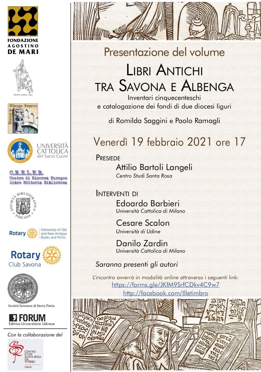 """""""Libri antichi tra Savona e Albenga"""" presentazione volume Romilda Saggini e Paolo Ramagli"""