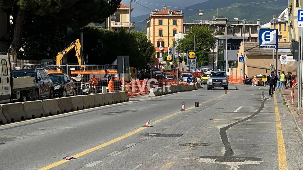 Lavori in via Nizza a Savona