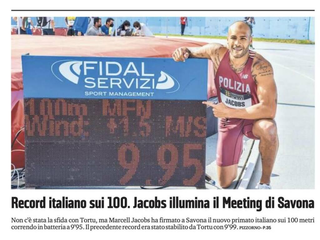 Meeting di Savona, il record italiano di Jacobs sulle prime pagine d'Italia