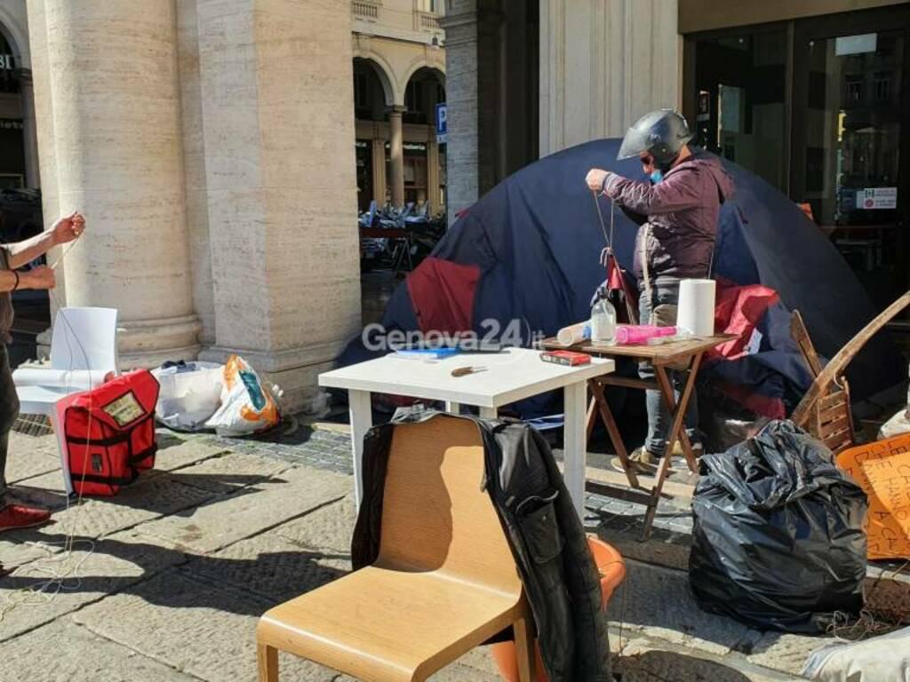 #protestaligure: smontata dopo 18 giorni la tende in piazza De Ferrari