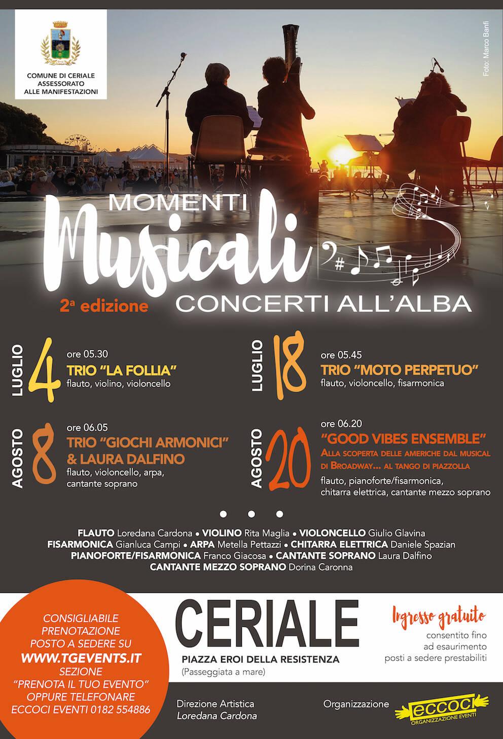 Ceriale Momenti Musicali 2021 concerti all'alba