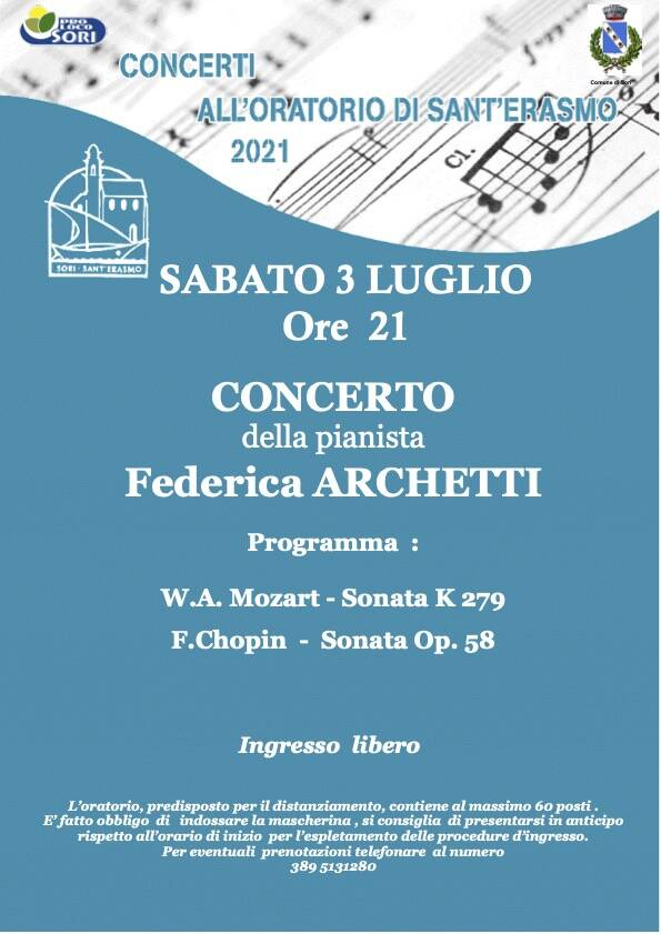 Sori concerto pianista Federica Archetti luglio 2021