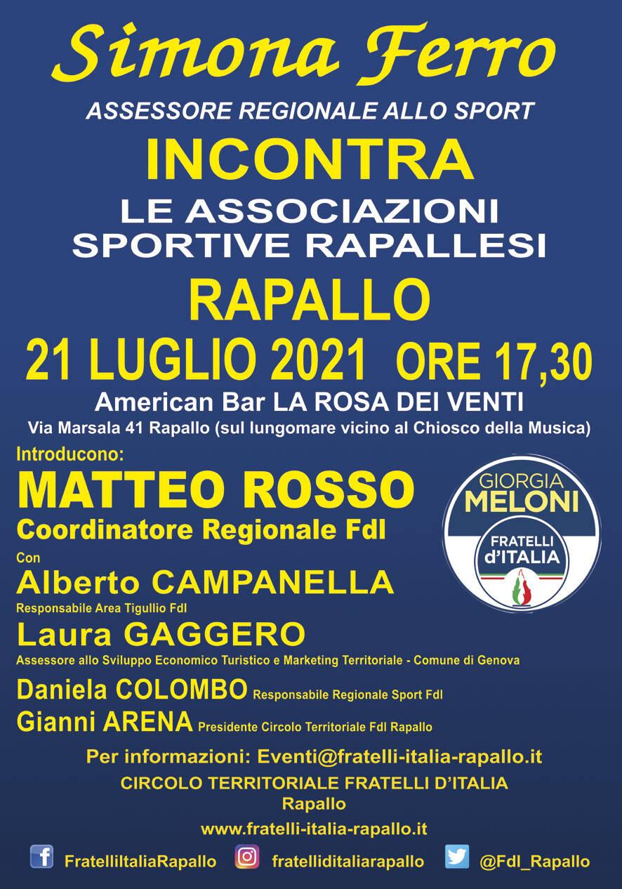 L\'Assessore allo Sport Simona Ferro incontra le associazioni sportive di Rapallo