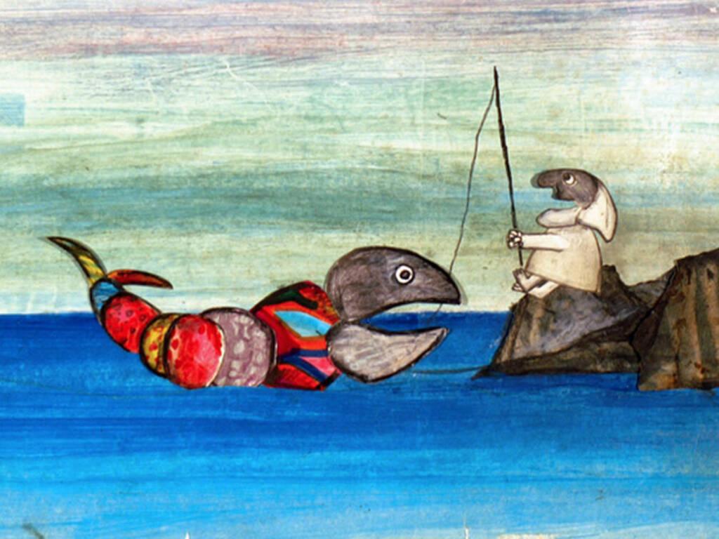 """""""Pulcinella e il pesce"""" disegno Emanuele Luzzati"""