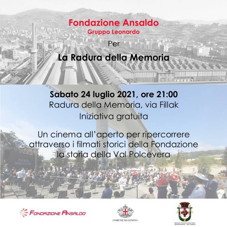 Genova proiezione filmati Fondazione Ansaldo su Val Polcevera