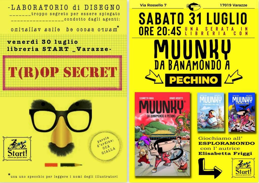 "Varazze ""T(r)op Secret"" e ""Muunky"" laboratori creativi Libreria Start"