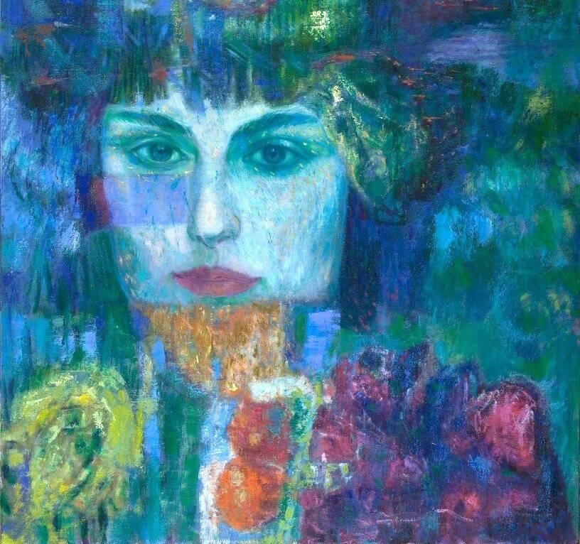 """""""Acque blu e occhi di Paradiso"""" olio su tela Giuseppe Trielli pittore Rapallo"""