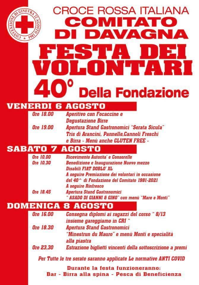Festa dei Volontari 40 anni di Croce Rossa a Davagna