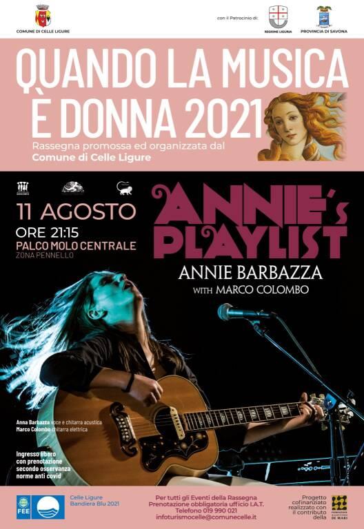 """Celle Ligure """"Annie's Playlist"""" concerto Annie Barbazza cantante e Marco Colombo chitarrista"""