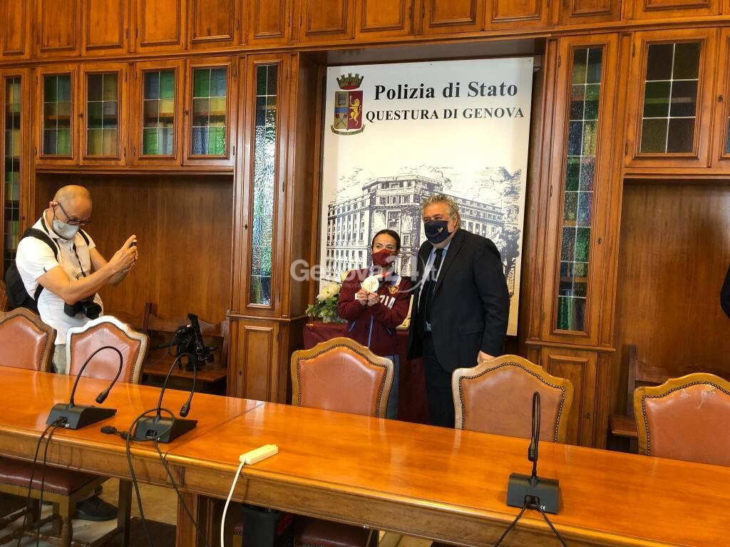 La Fiamma oro Viviana Bottaro, bronzo a Tokyo 2020, in Questura a Genova