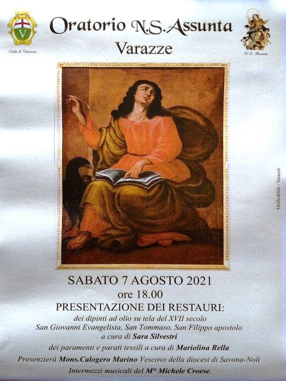 Varazze presentazione restauro quadri Oratorio Nostra Signora Assunta