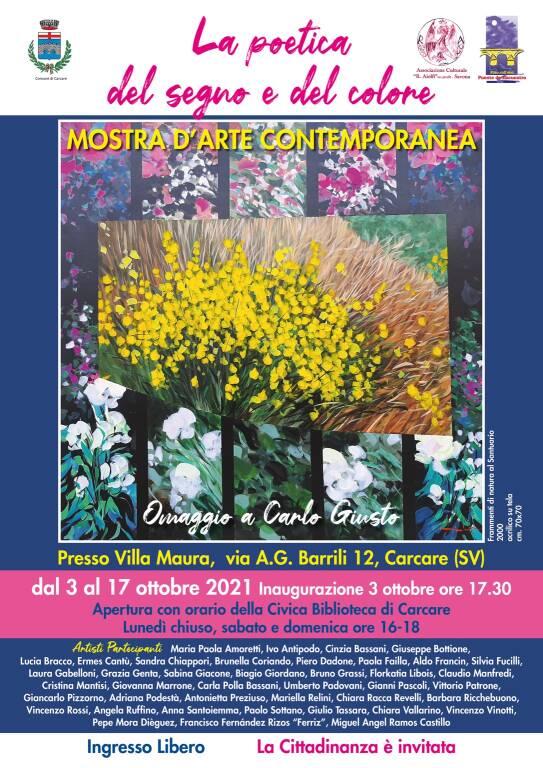 """Carcare """"La poetica del segno e del colore"""" mostra d'arte Villa Maura"""