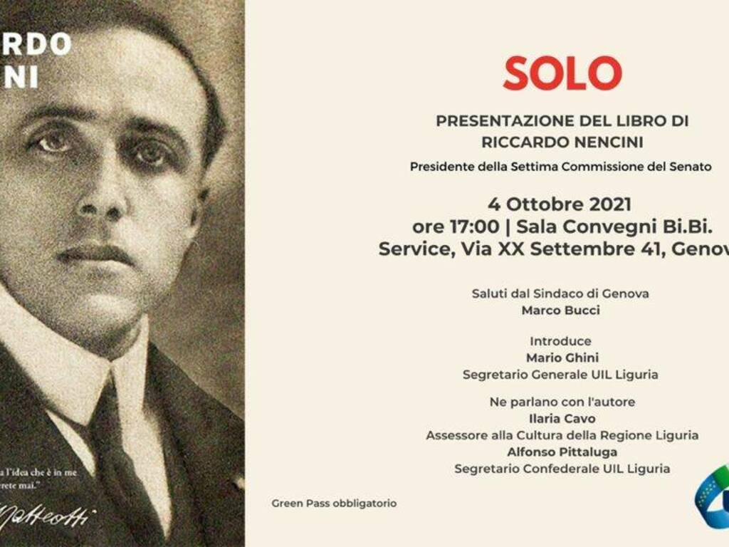 """Genova """"Solo"""" libro Riccardo Nencini presentazione"""