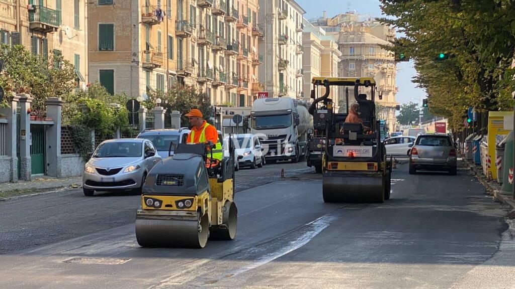 Corso Mazzini Savona lavori asfalto